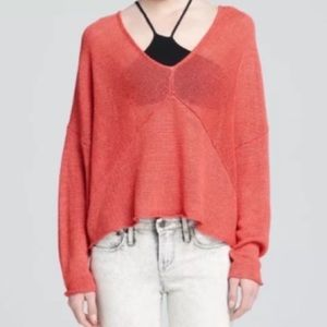 Helmut Lang Knit Woven Sweater Coral Pink